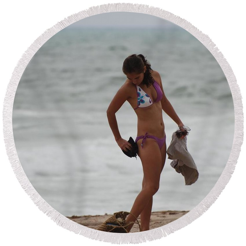 Bikinis Round Beach Towel featuring the photograph Purple Bikini by Rob Hans