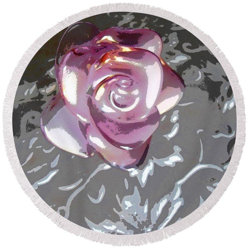 Rose Round Beach Towel featuring the digital art Purple Blossom by Lovina Wright