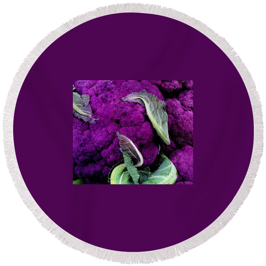 Purple Cauliflower Round Beach Towel featuring the photograph Purple Cauloflower by Dragica Micki Fortuna