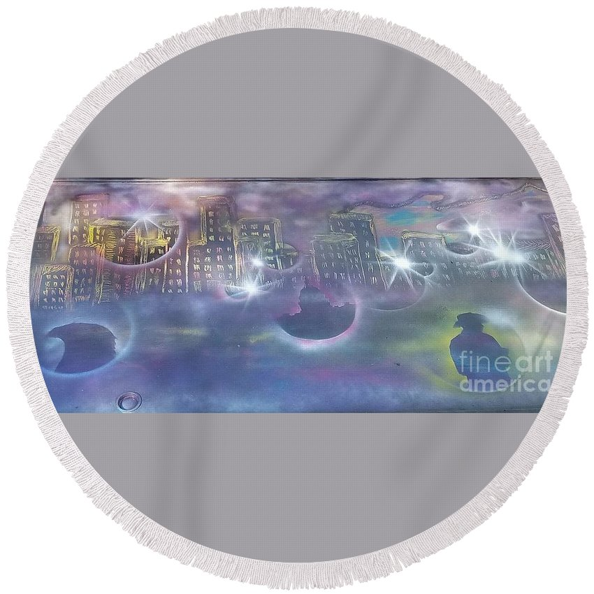 City Round Beach Towel featuring the painting Purple City by Amanda Lenac