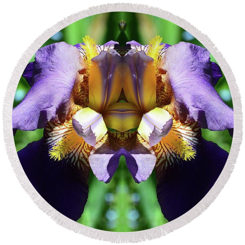 Abstract Round Beach Towel featuring the digital art Purple Dream Two by Lyle Crump