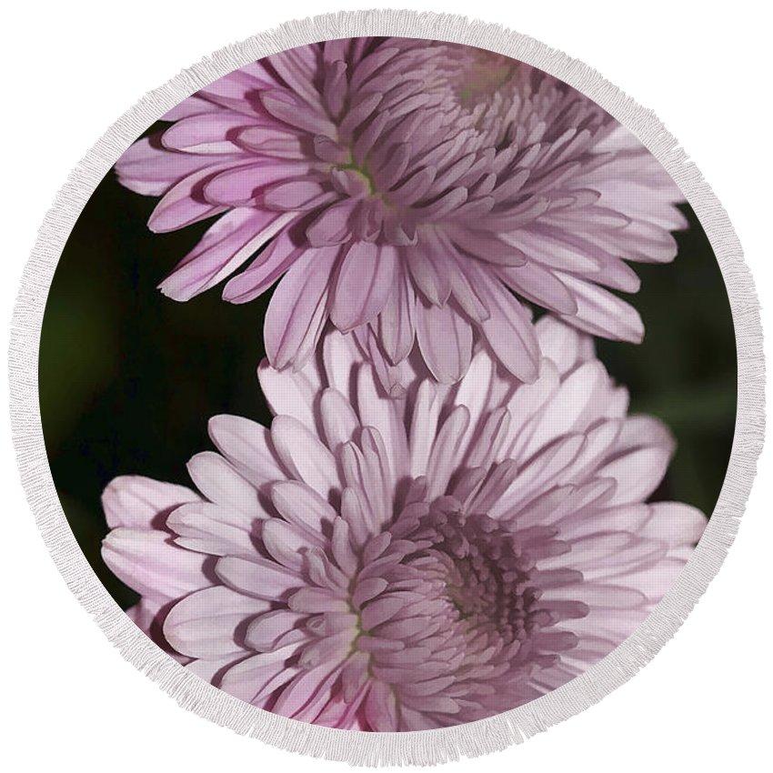 Flowers Round Beach Towel featuring the photograph Purple Duo by Deborah Benoit