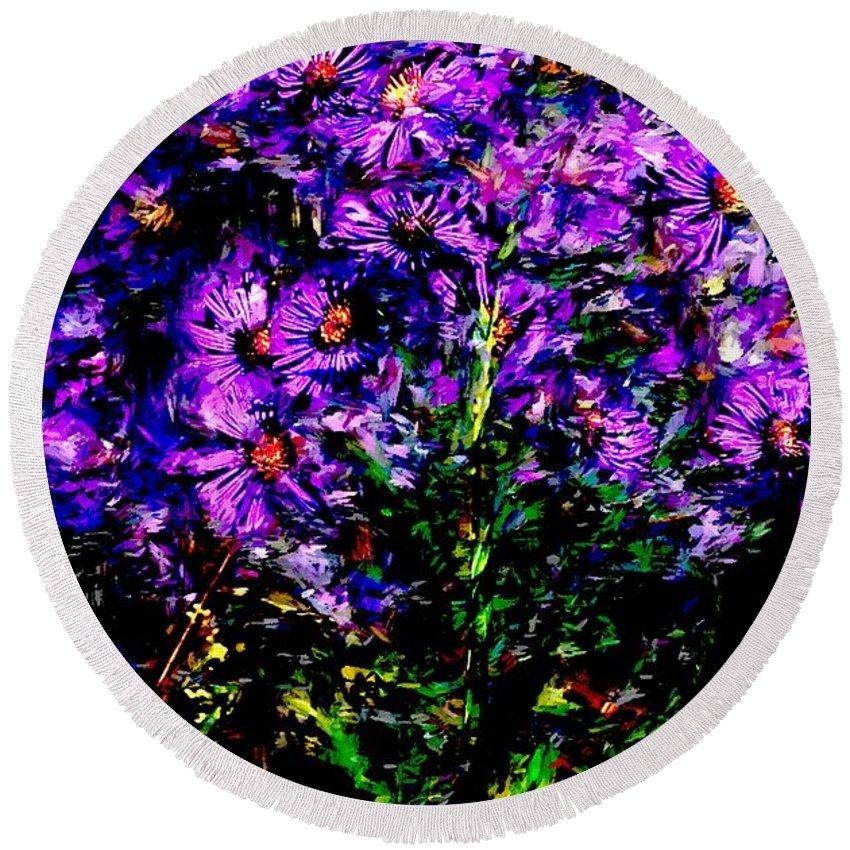 Digital Photograph Round Beach Towel featuring the photograph Purple Flower Still Life by David Lane