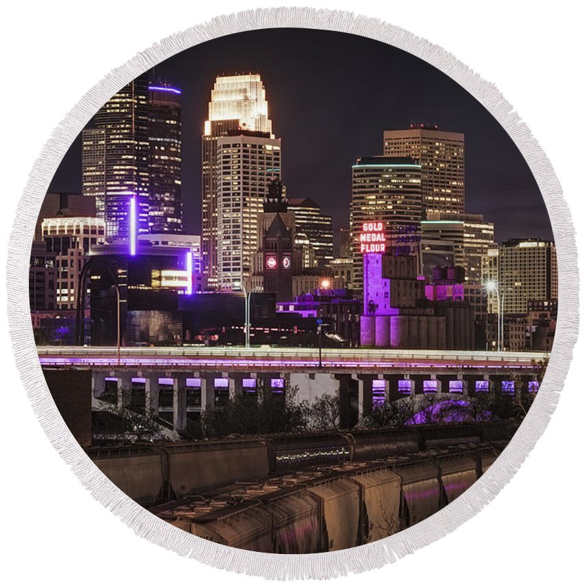 Minneapolis Skyline Round Beach Towel featuring the photograph Purple For Prince by Joe Mamer