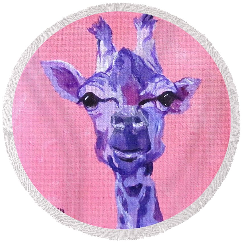 Giraffe Round Beach Towel featuring the painting Purple Giraffe by Barbara O'Toole