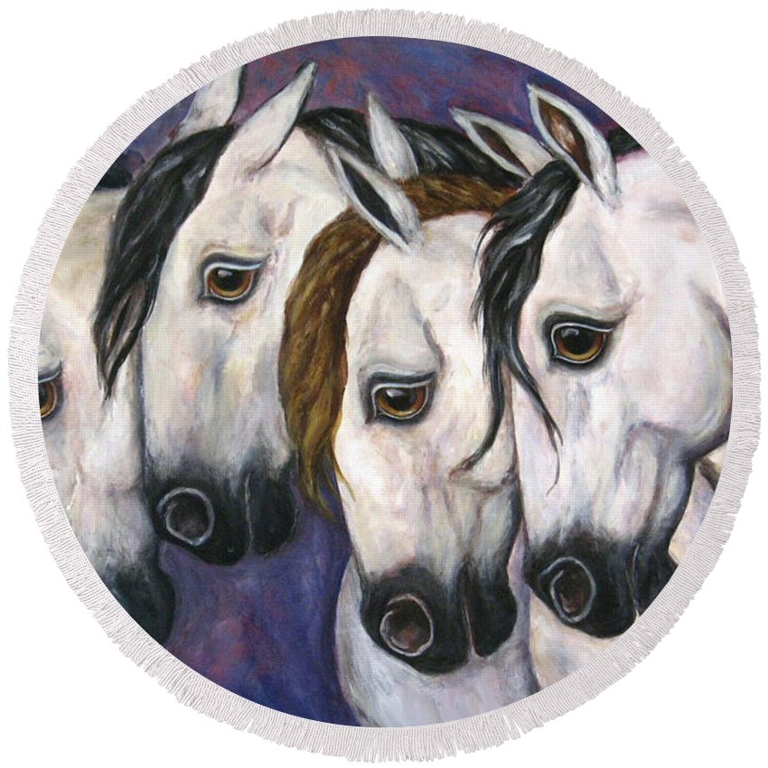 Horse Painting Round Beach Towel featuring the painting Purple Haze by Frances Gillotti