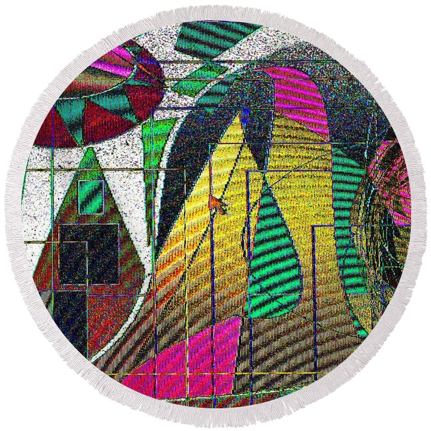 Purple Round Beach Towel featuring the digital art Purple Haze by Ian MacDonald