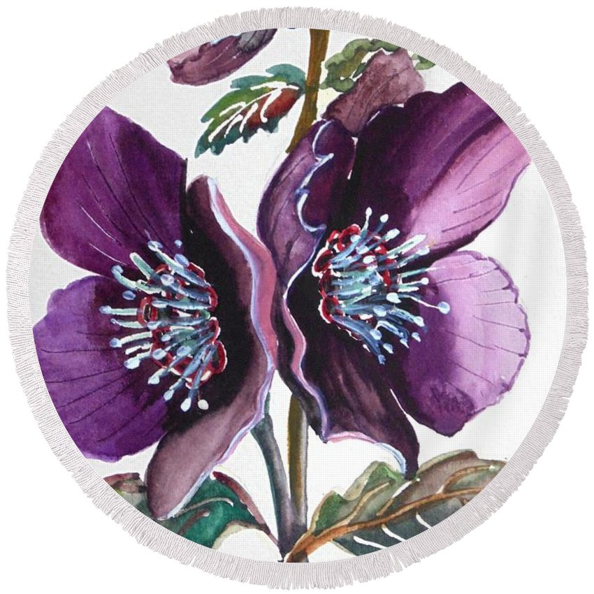 Purple Round Beach Towel featuring the painting Purple Helleborous by Karin Dawn Kelshall- Best