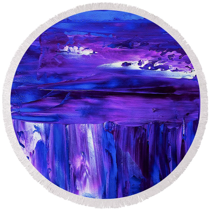 Abstract Round Beach Towel featuring the painting Purple Hue by Dick Bourgault