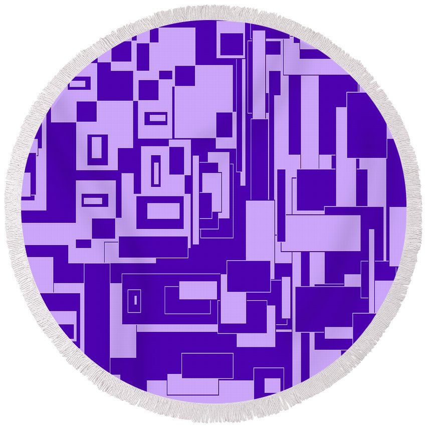 Abstract Round Beach Towel featuring the digital art Purple Hues by Candice Danielle Hughes
