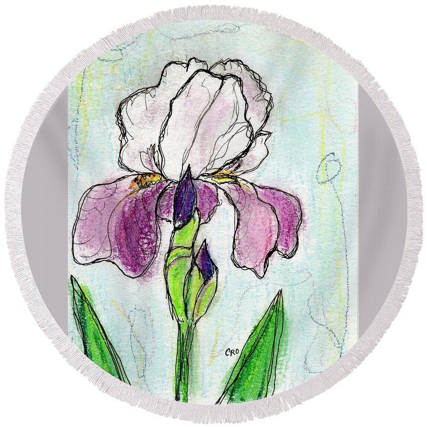 Iris Round Beach Towel featuring the painting Purple Iris by Christopher O'Kelley