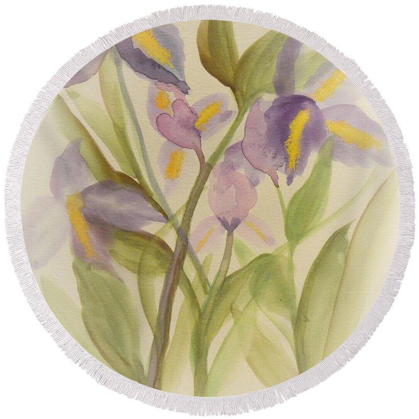 Purple Iris Watercolor Round Beach Towel featuring the painting Purple Iris Watercolor by Maria Urso