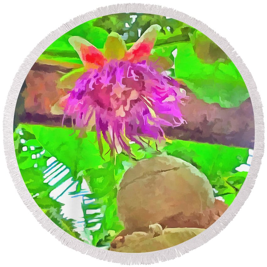 Flower Round Beach Towel featuring the photograph Purple Is Good by Ashish Agarwal