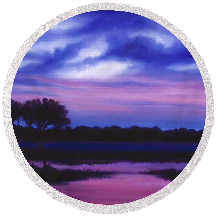 Sunrise Round Beach Towel featuring the painting Purple Landscape Or Jean's Clearing by James Christopher Hill