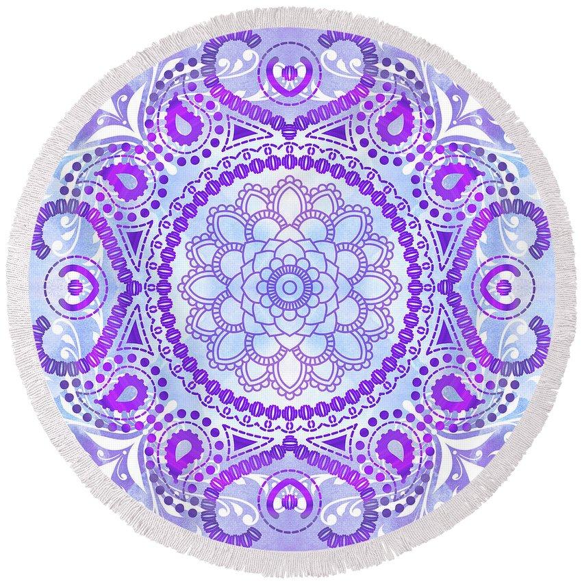 Lotus Round Beach Towel featuring the digital art Purple Lotus Mandala by Tammy Wetzel