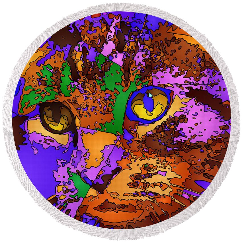 Cat Round Beach Towel featuring the digital art Purple Love. Pet Series by Rafael Salazar