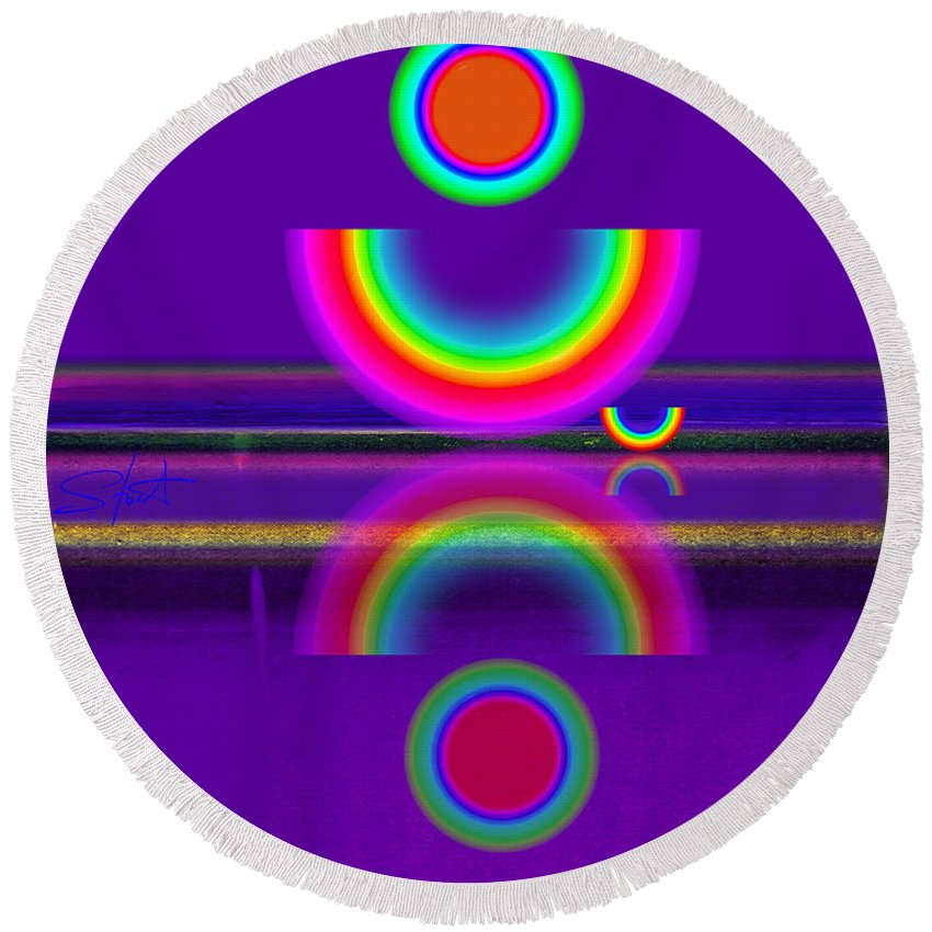 Reflections Round Beach Towel featuring the painting Purple Moon by Charles Stuart