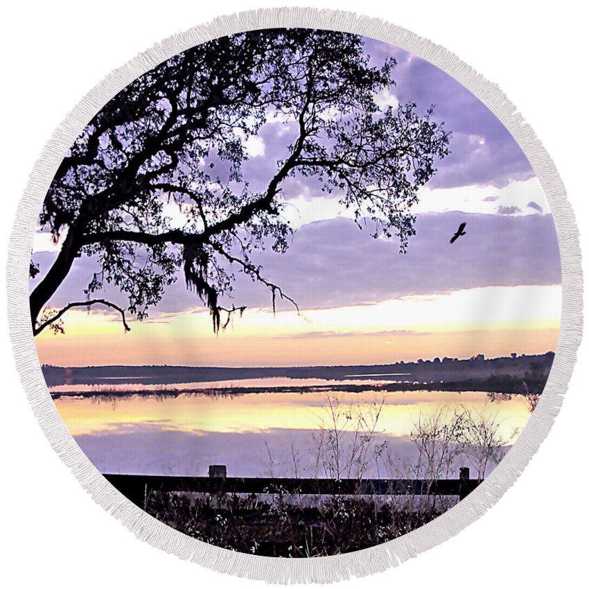 Purple Round Beach Towel featuring the photograph Purple Morning by Adele Moscaritolo