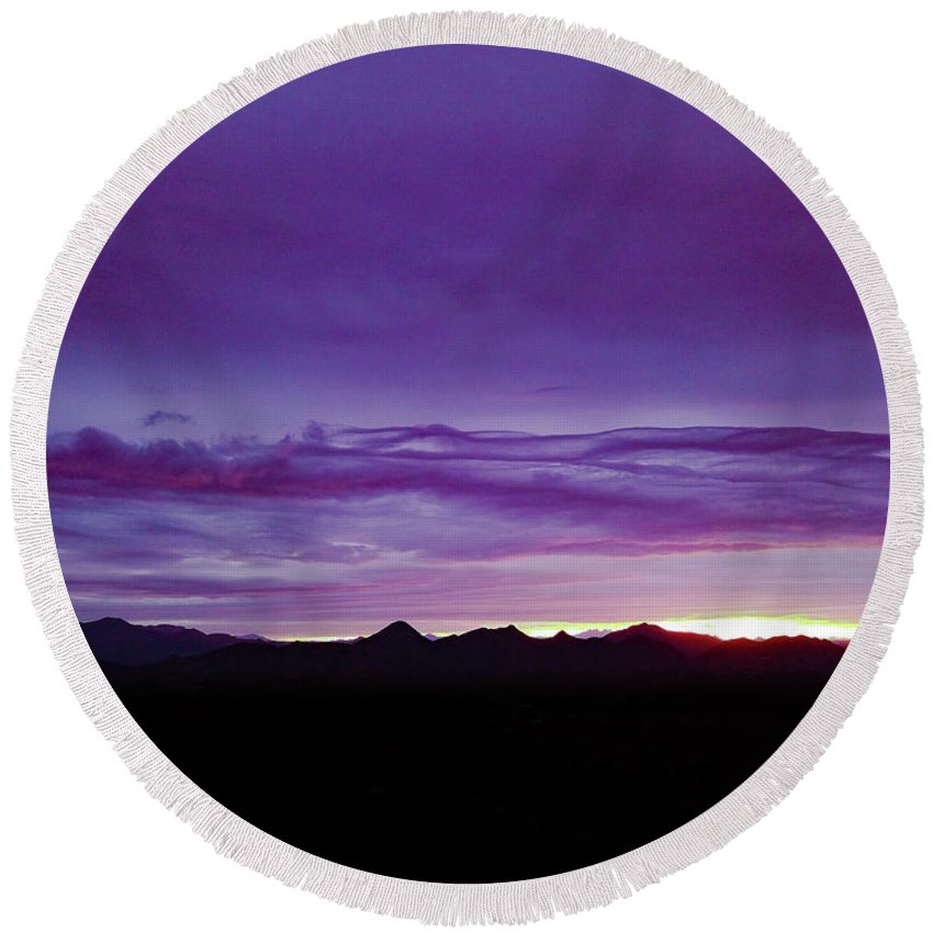 Drone Photography Round Beach Towel featuring the photograph Purple Mountain Sunset by David Stevens