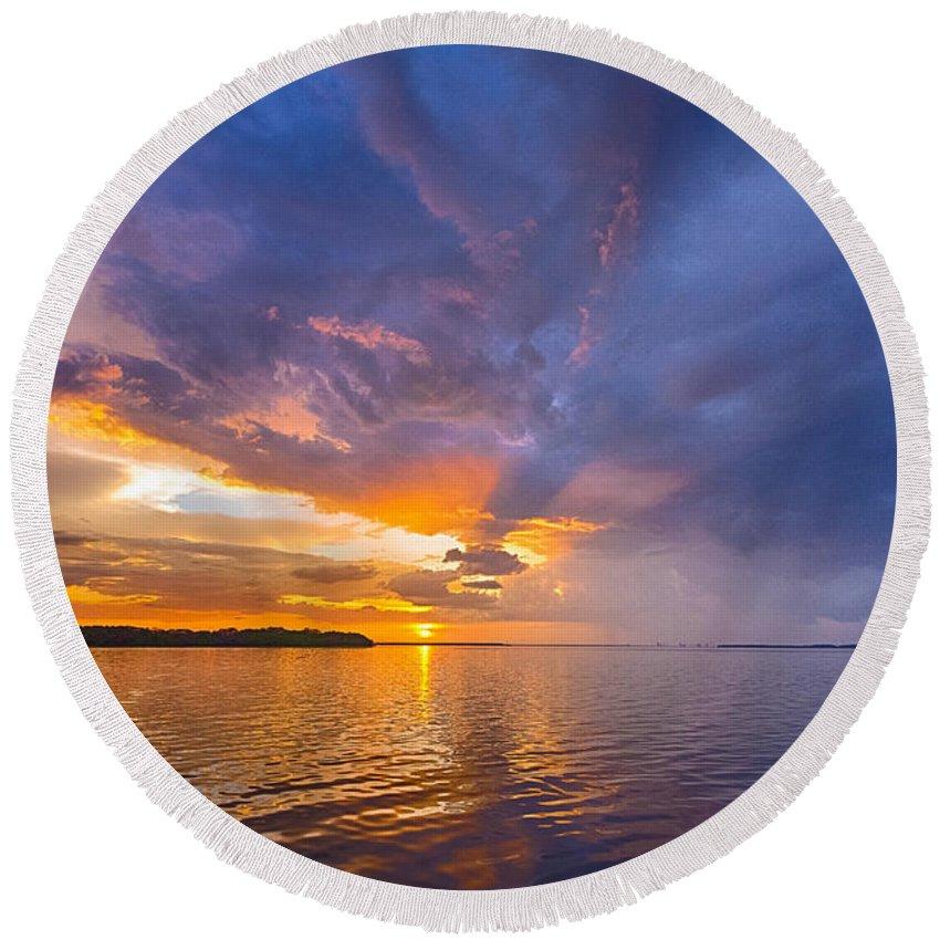 Landscape Round Beach Towel featuring the photograph Purple Orange Dream Sunset by Ronald Kotinsky