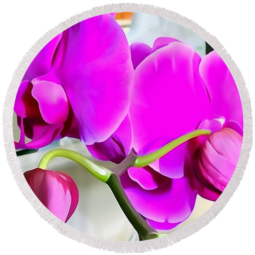 Digital Round Beach Towel featuring the photograph Purple Orchids by Ed Weidman