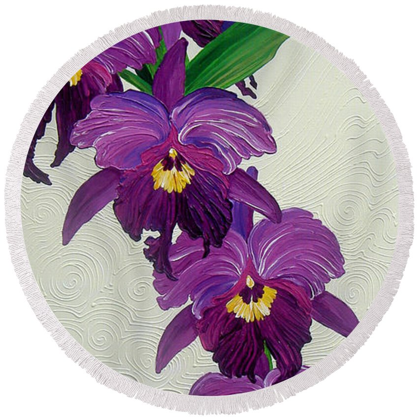 Purple Orchids Round Beach Towel featuring the painting Purple Orchids by Juan Alcantara