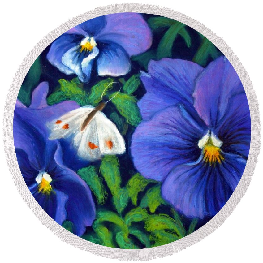 Pansy Round Beach Towel featuring the painting Purple Pansies and White Moth by Minaz Jantz