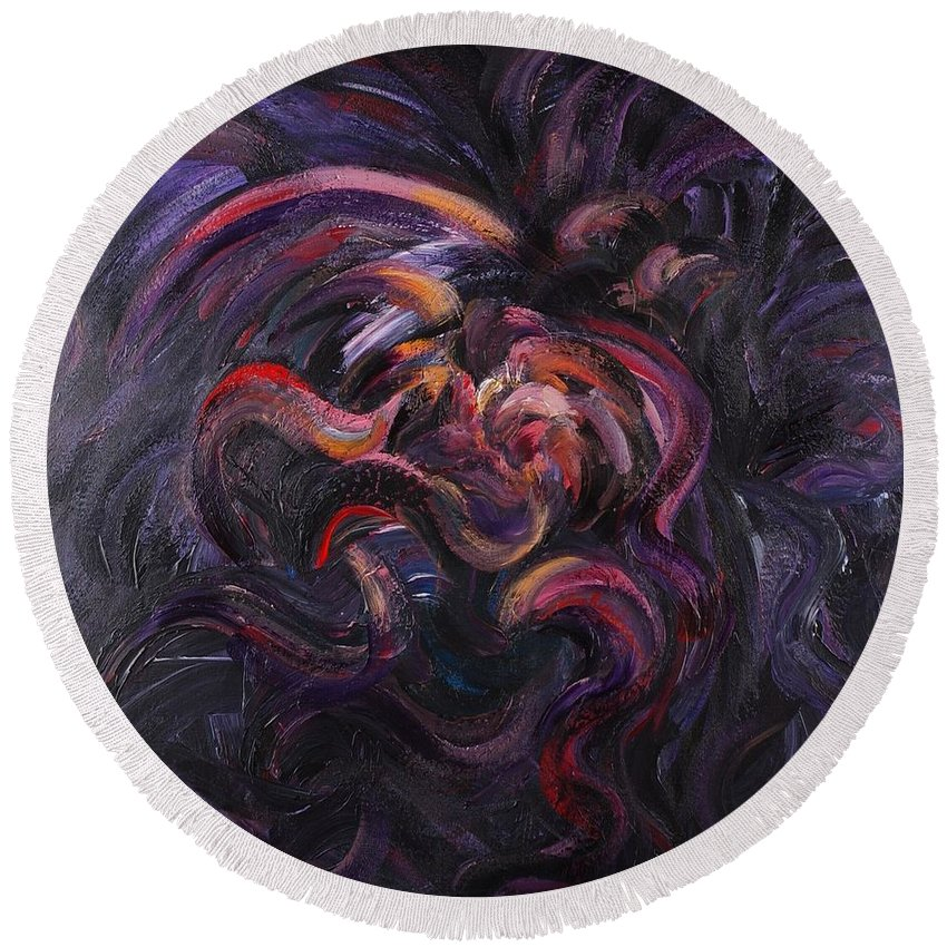 Purple Round Beach Towel featuring the painting Purple Passion by Nadine Rippelmeyer
