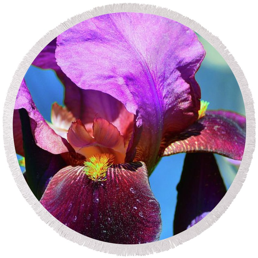 Abstract Round Beach Towel featuring the digital art Purple Petals Four by Lyle Crump