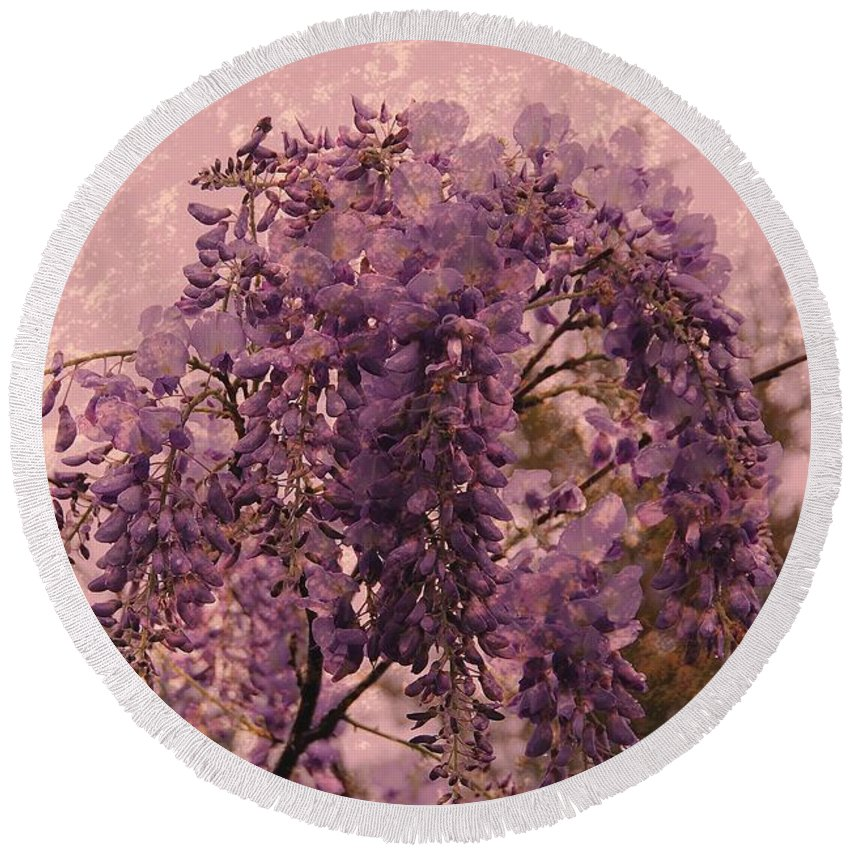 Wisteria Flowers Round Beach Towel featuring the photograph Purple Pleasures by Angie Tirado