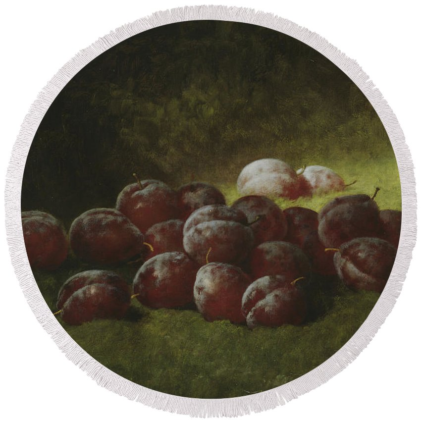 Still-life Round Beach Towel featuring the painting Purple Plums by Carducius Plantagenet Ream