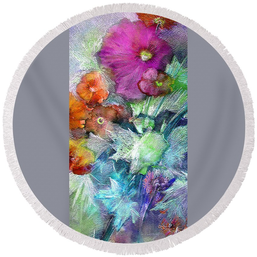 Flowers Round Beach Towel featuring the painting Purple Queen by Miki De Goodaboom