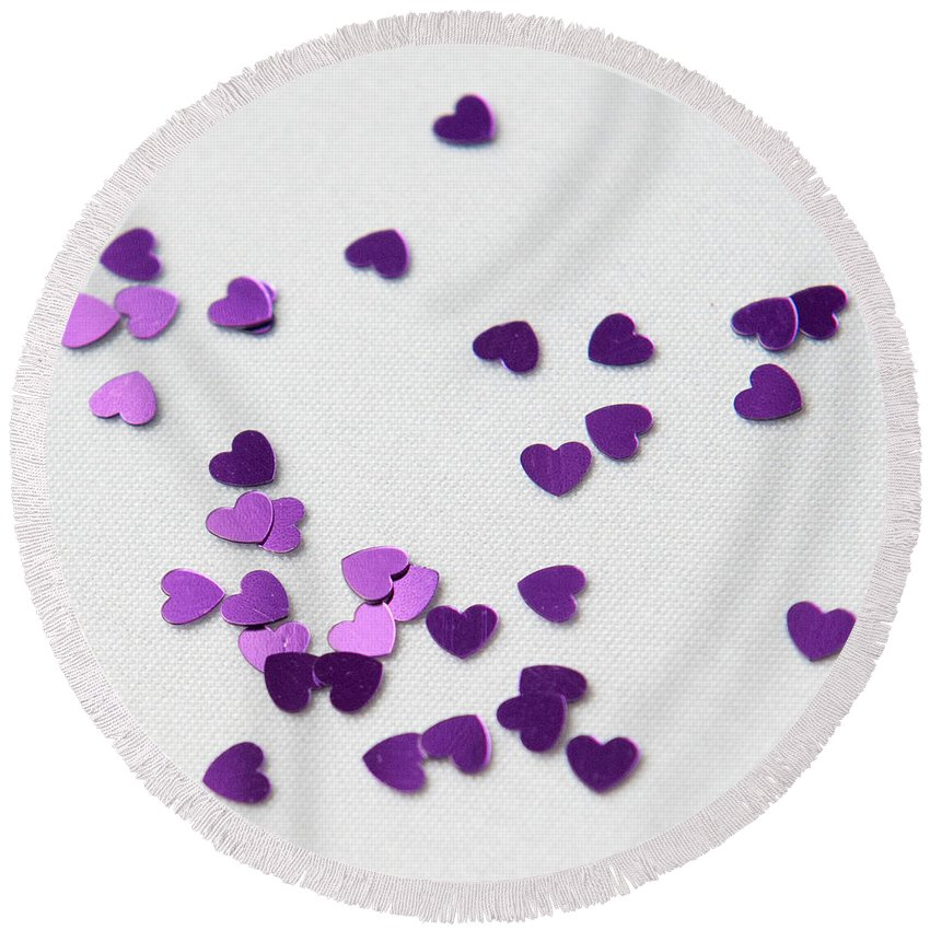 Hearts Round Beach Towel featuring the photograph Purple Scattered Hearts II by Helen Northcott