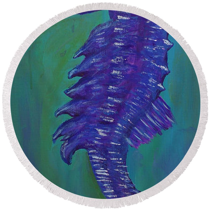 Seahorse Round Beach Towel featuring the painting Purple Seahorse by Corby Bender