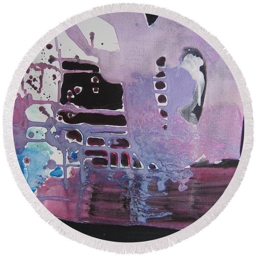 Abstract Paintings Round Beach Towel featuring the painting Purple Seascape by Seon-Jeong Kim