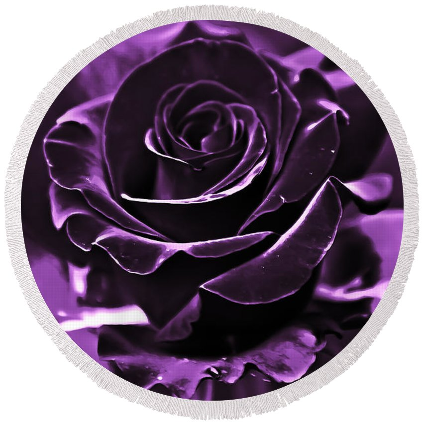 Rose Round Beach Towel featuring the photograph Purple Seduction by DigiArt Diaries by Vicky B Fuller