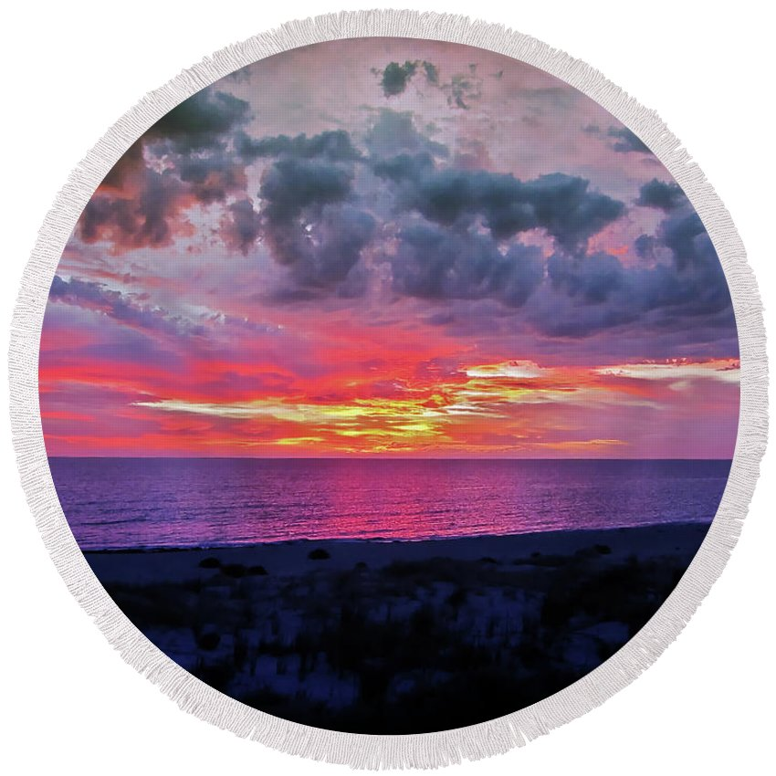 Sunset Round Beach Towel featuring the photograph Purple Sky by Douglas Barnard