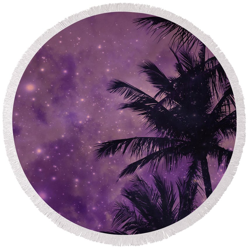 Purple Sky Palm Round Beach Towel featuring the photograph Purple Sky Palm by UMe images