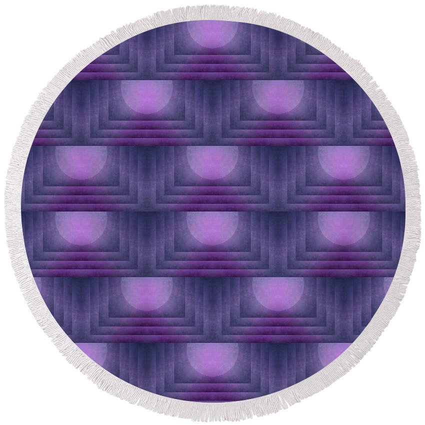 Purple Round Beach Towel featuring the digital art Purple Sun Deco by Patricia Strand