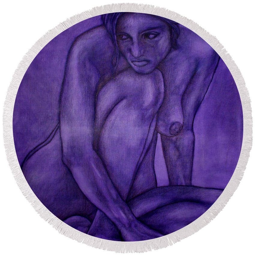 Nude Women Round Beach Towel featuring the painting Purple by Thomas Valentine