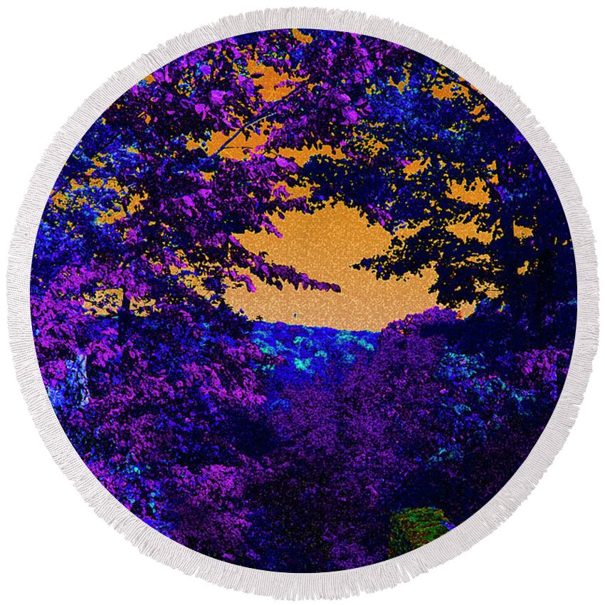 Landscape Round Beach Towel featuring the digital art Purple Trees by David Stasiak