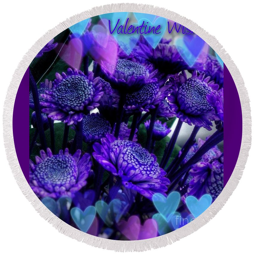 Purple Valentine Round Beach Towel featuring the mixed media Purple Valentine by Joan-Violet Stretch
