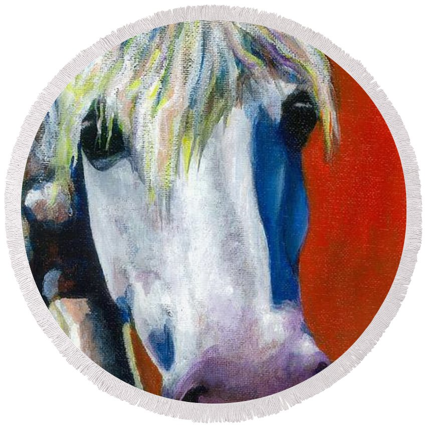 White Horse With Purple Nose Round Beach Towel featuring the painting Purple Velvet by Frances Marino