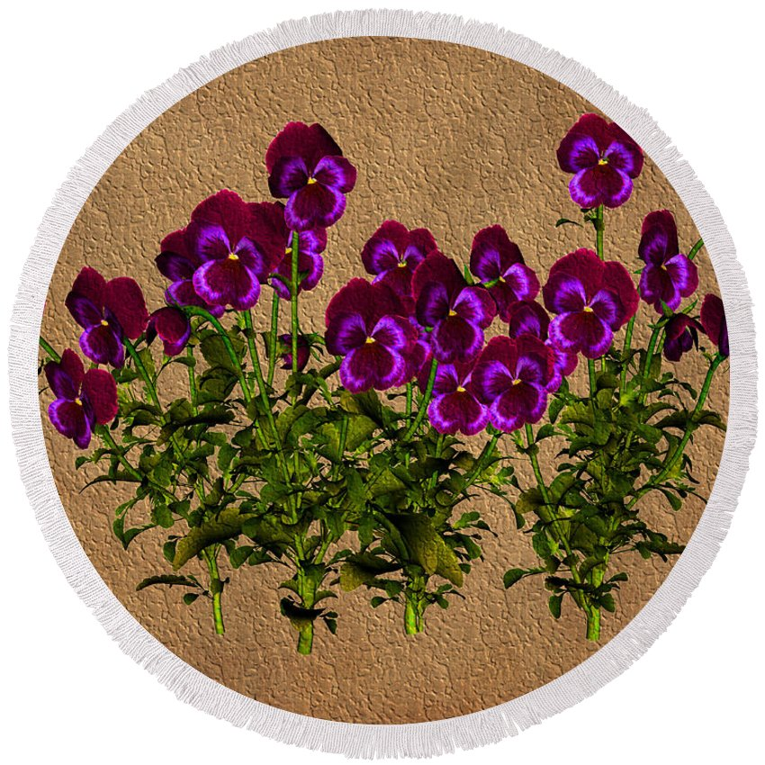Flower Round Beach Towel featuring the digital art Purple Violets by Smilin Eyes Treasures
