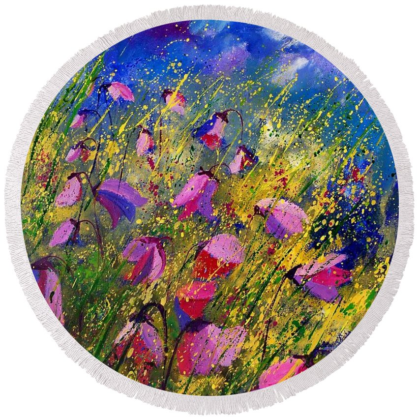 Poppies Round Beach Towel featuring the painting Purple Wild Flowers by Pol Ledent