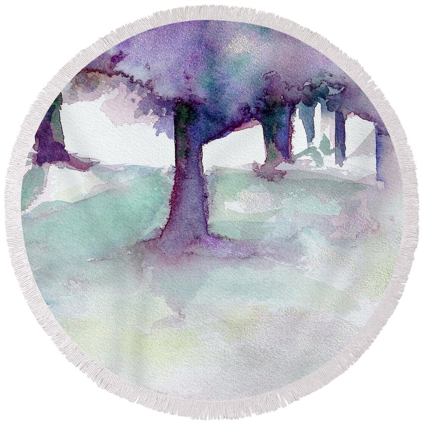 Landscape Round Beach Towel featuring the painting Purplescape II by Jan Bennicoff