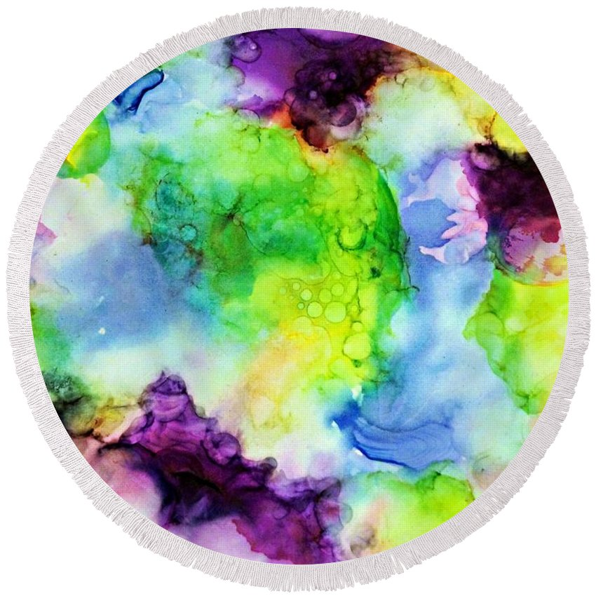 Abstract Art Round Beach Towel featuring the painting Purplexed by Frank V Foster Jr