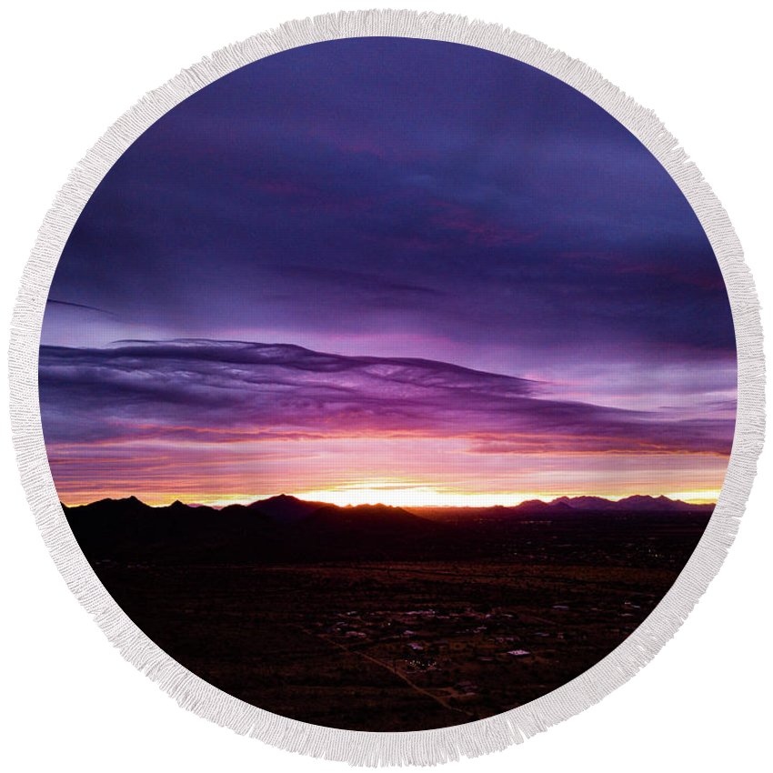 Drone Photography Round Beach Towel featuring the photograph Puruple Sunset by David Stevens