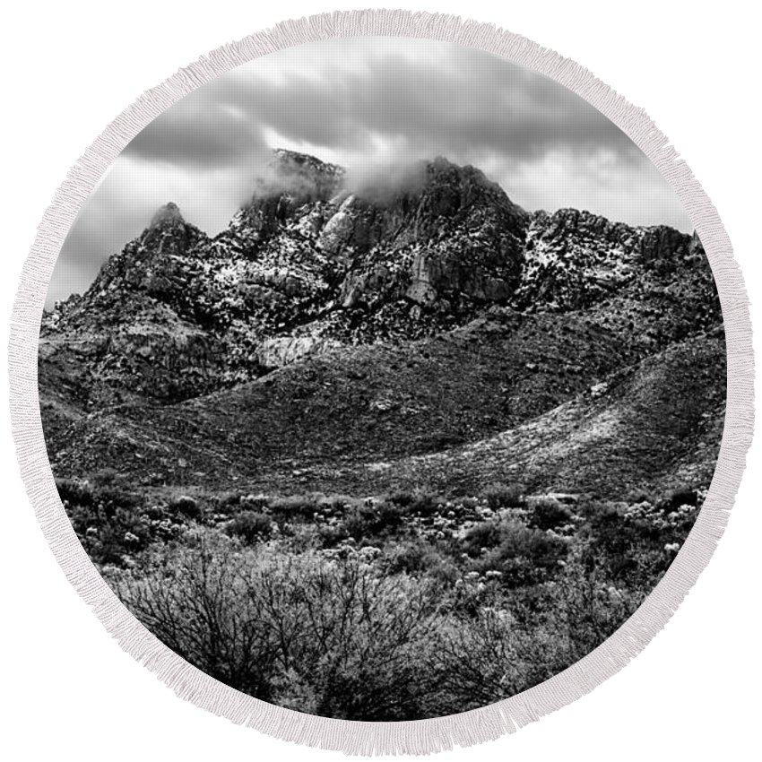 Oro Valley Round Beach Towel featuring the photograph Pusch Ridge Snow No10 by Mark Myhaver