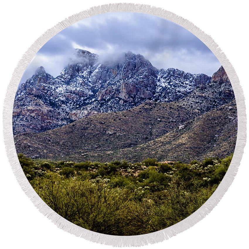 Oro Valley Round Beach Towel featuring the photograph Pusch Ridge Snow No8 by Mark Myhaver